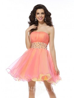 A-Line/Princess Strapless Sleeveless Organza Short/Mini Beading Dresses