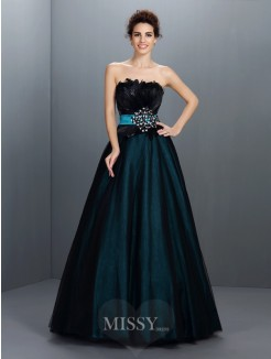 Ball Gown Strapless Sleeveless Feathers/Fur Floor-Length Elastic Woven Satin Dresses