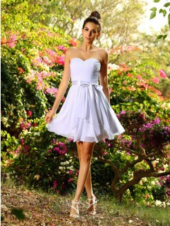 A-Line/Princess Sweetheart Chiffon Sleeveless Bowknot Short/Mini Bridesmaid Dresses