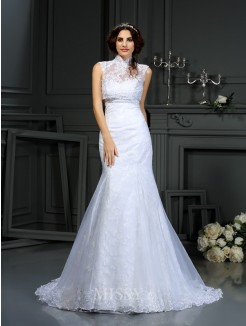 Trumpet/Mermaid Sweetheart Lace Sleeveless Court Train Satin Wedding Dresses