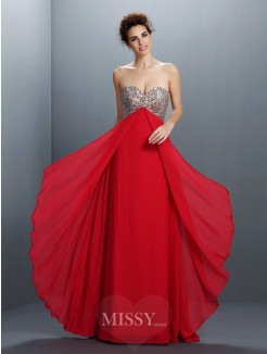 A-Line/Princess Sleeveless Sweetheart Beading Paillette Floor-Length Chiffon Dress