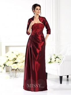 A-Line/Princess Strapless 1/2 Sleeves Applique Floor-Length Taffeta Mother of the Bride Dress