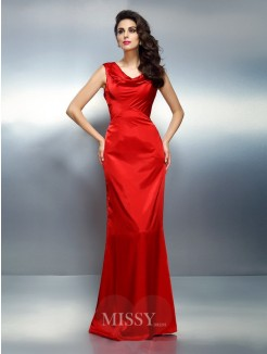 Trumpet/Mermaid Sleeveless V-neck Floor-Length Silk like Satin Dresses