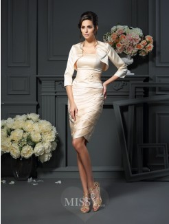 Sheath/Column Strapless Pleats Sleeveless Knee-Length Satin Mother of the Bride Dress