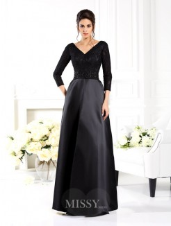 A-Line/Princess V-neck 3/4 Sleeves Beading Floor-Length Satin Mother of the Bride Dress