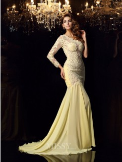 Trumpet/Mermaid Long Sleeves One-Shoulder Chiffon Applique Chapel Train Dresses