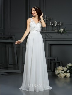 A-Line/Princess Sleeveless V-neck Sweep/Brush Train Lace Chiffon Wedding Dress