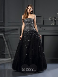 Ball Gown Strapless Sleeveless Satin Floor-Length Beading Dresses