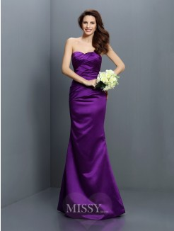 Trumpet/Mermaid Strapless Sleeveless Pleats Floor-Length Satin Bridesmaid Dresses