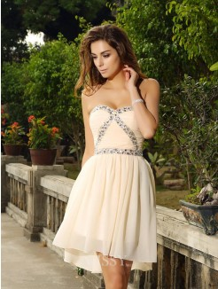 A-Line/Princess Sweetheart Chiffon Sleeveless Beading Short/Mini Dress