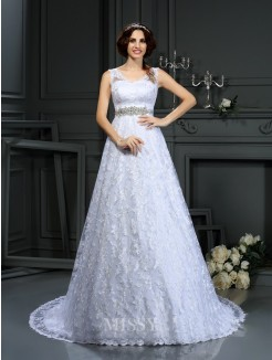 A-Line/Princess Sleeveless V-neck Lace Satin Court Train Wedding Dresses