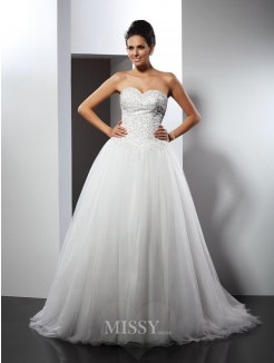 A-Line/Princess Sleeveless Sweetheart Applique Chapel Train Net Wedding Dresses