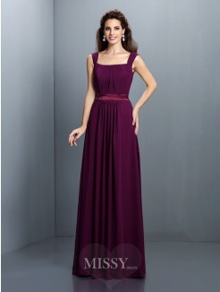 A-Line/Princess Square Sleeveless Pleats Floor-Length Chiffon Dress