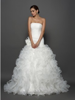 Ball Gown Strapless Sleeveless Organza Cathedral Train Hand-Made Flower Wedding Dresses