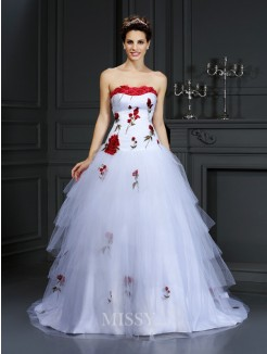 Ball Gown Strapless Hand-Made Flower Sleeveless Court Train Satin Wedding Dresses