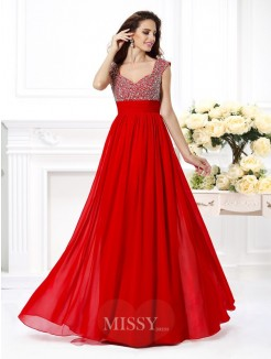 A-Line/Princess Straps Sleeveless Beading Paillette Floor-Length Chiffon Dress