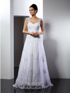 A-Line/Princess Straps Sleeveless Applique Court Train Lace Wedding Dress