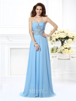 A-Line/Princess Sleeveless Sweetheart Beading Sweep/Brush Train Chiffon Dress