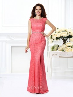 Trumpet/Mermaid Bateau Sleeveless Beading Floor-Length Lace Dresses