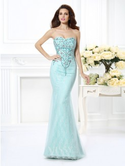 Trumpet/Mermaid Sleeveless Sweetheart Beading Lace Floor-Length Net Dresses
