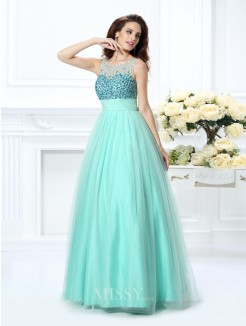 Ball Gown Bateau Sleeveless Beading Floor-Length Chiffon Dress
