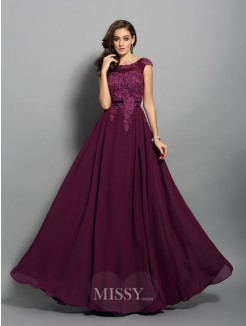 A-Line/Princess Chiffon Sleeveless Scoop Applique Floor-Length Dresses