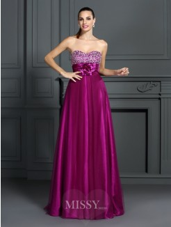A-Line/Princess Sleeveless Sweetheart Hand-Made Flower Floor-Length Elastic Woven Satin Dresses