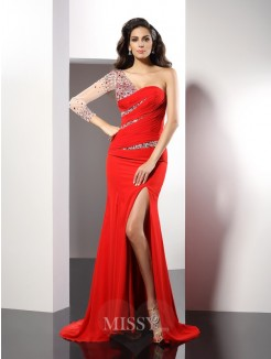 Sheath/Column One-Shoulder Beading 3/4 Sleeves Sweep/Brush Train Chiffon Dress