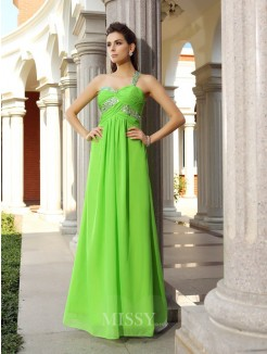 Sheath/Column Sleeveless One-Shoulder Chiffon Beading Floor-Length Dresses