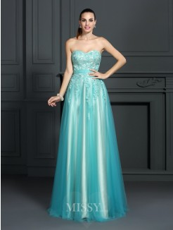 A-Line/Princess Sleeveless Sweetheart Applique Floor-Length Elastic Woven Satin Dresses