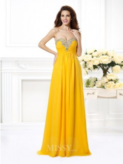 A-Line/Princess Sleeveless Sweetheart Beading Floor-Length Chiffon Dress