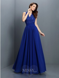 A-Line/Princess Sleeveless V-neck Applique Floor-Length Chiffon Bridesmaid Dresses