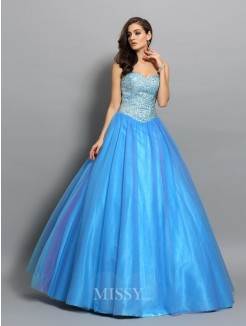 Ball Gown Elastic Woven Satin Sleeveless Sweetheart Floor-Length Beading Dresses