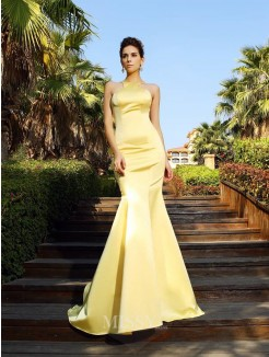 Trumpet/Mermaid Sleeveless Scoop Satin Court Train Dresses