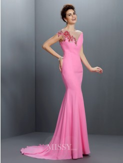 Trumpet/Mermaid Bateau Beading Short Sleeves Sweep/Brush Train Chiffon Dress