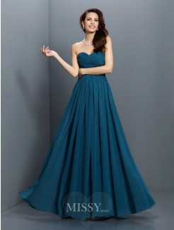 A-Line/Princess Sleeveless Sweetheart Pleats Floor-Length Satin Bridesmaid Dresses