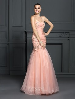 Trumpet/Mermaid Sleeveless Sweetheart Applique Floor-Length Organza Dresses