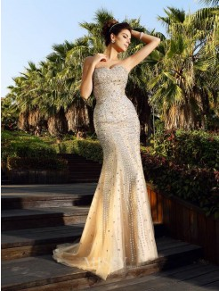 Trumpet/Mermaid Sleeveless Sweetheart Beading Court Train Satin Dresses