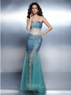 Trumpet/Mermaid Spaghetti Straps Sleeveless Rhinestone Floor-Length Satin Dresses