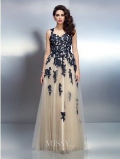 A-Line/Princess Straps Sleeveless Applique Floor-Length Elastic Woven Satin Dresses