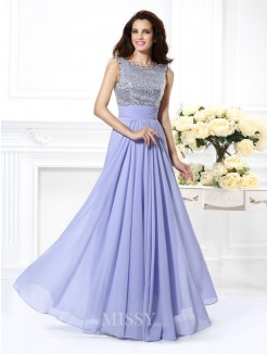 A-Line/Princess Bateau Sleeveless Lace Paillette Floor-Length Chiffon Dress