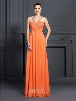A-Line/Princess Halter Sleeveless Beading Floor-Length Chiffon Dress