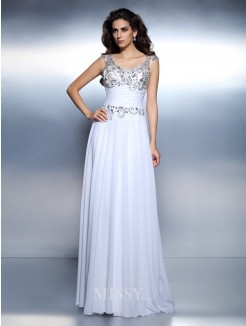 A-Line/Princess Sleeveless Scoop Beading Rhinestone Sweep/Brush Train Chiffon Dress