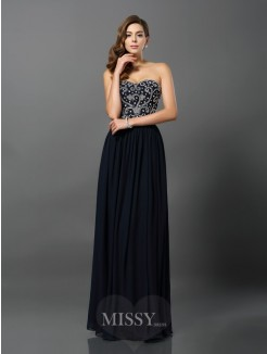 A-Line/Princess Sleeveless Chiffon Beading Floor-Length Sweetheart Dresses