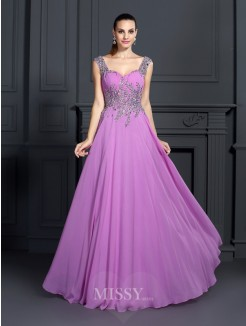 A-Line/Princess Straps Sleeveless Beading Floor-Length Chiffon Dress