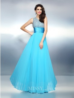 A-Line/Princess Sleeveless One-Shoulder Beading Floor-Length Chiffon Dress