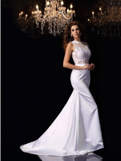 Trumpet/Mermaid Sleeveless High Neck Satin Applique Chapel Train Wedding Dresses