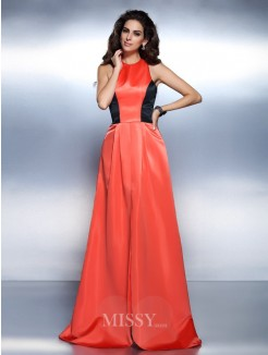 A-Line/Princess Sleeveless High Neck Floor-Length Satin Dresses