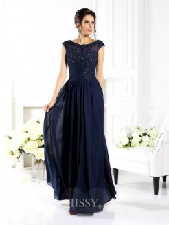 A-Line/Princess Sleeveless Scoop Beading Floor-Length Chiffon Dress
