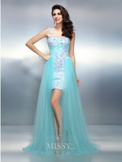 Sheath/Column Sleeveless One-Shoulder Applique Sweep/Brush Train Elastic Woven Satin Dresses